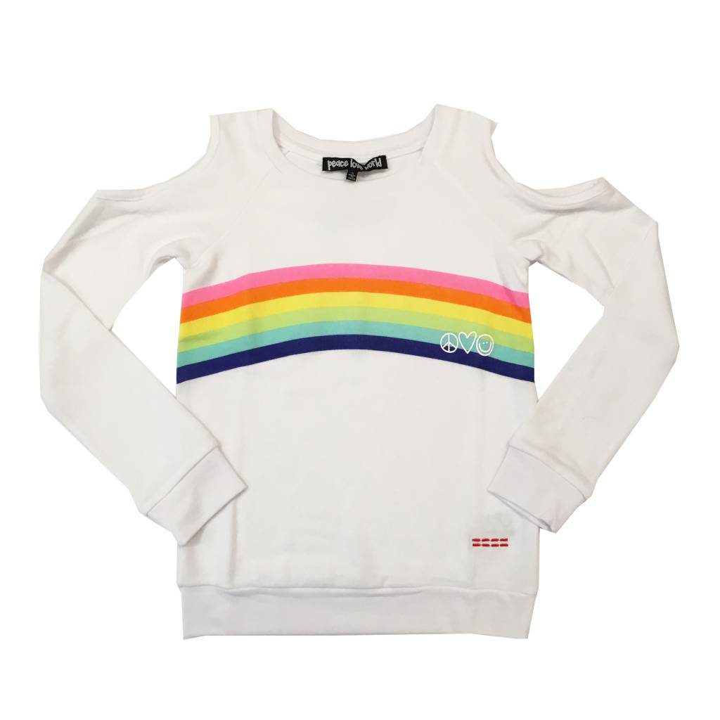 Peace Love World Cold Shoulder Rainbow Sweatshirt