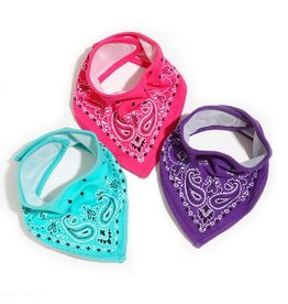 Fctry Set of 3 Bandana Bibs Pink/Purple/Turq