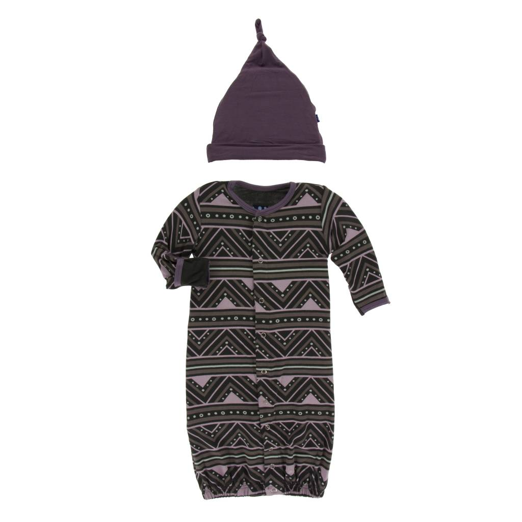 Kickee Pants African Converter Gown w/ Hat 0-3M