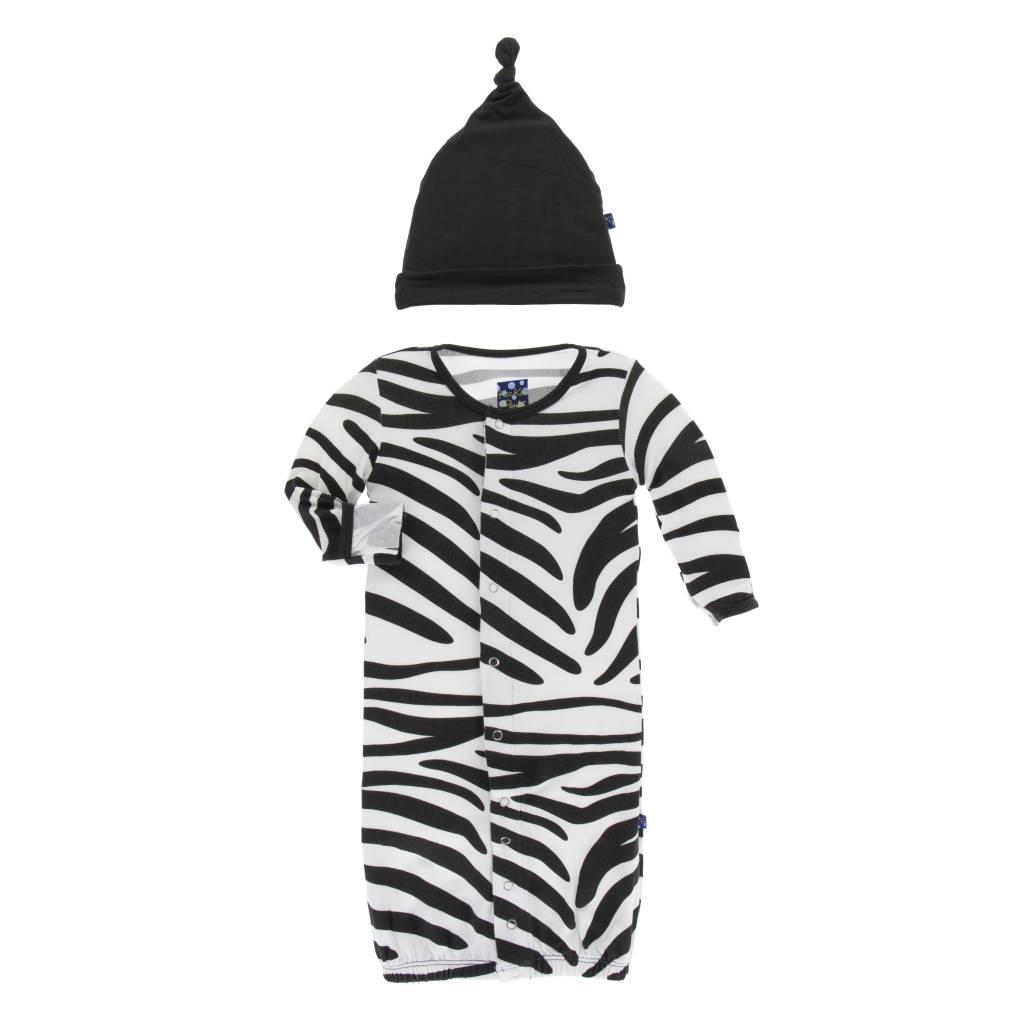 Kickee Pants Zebra Converter Gown w/ Hat 0-3M