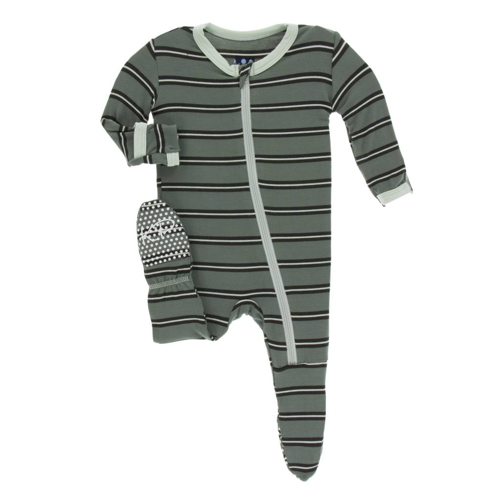 Kickee Pants Kenya Stripe Zipper Footie