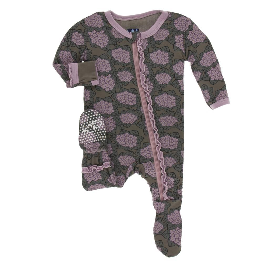 Kickee Pants African Violets Ruffle Footie