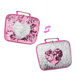 Pink Heart Reverse Sequin Lunch Box