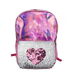 Pink Heart Reverse Sequin Backpack