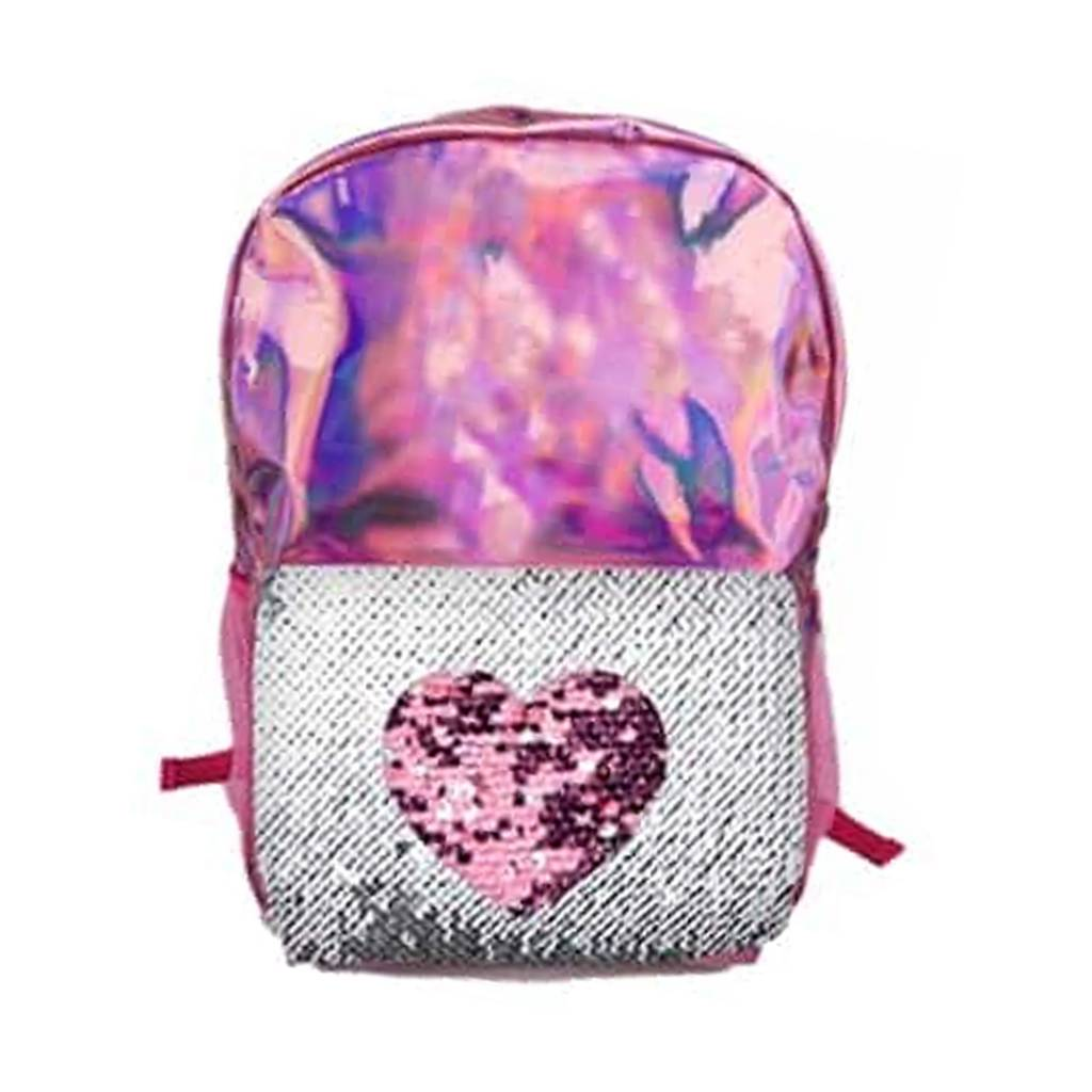 Pink Heart Reverse Sequin Backpack