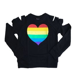 Flowers by Zoe Rainbow Heart Cut Shoulder Sweatshirt