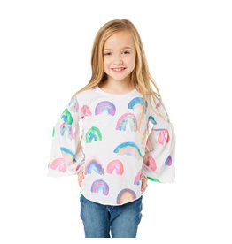 Chaser Painted Rainbows Bell Sleeve Top