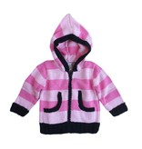 2 H Knits Fuchsia Stripe Hooded Zip Sweater