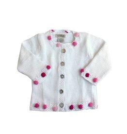2 H Knits White Pom Pom Sweater & Hat