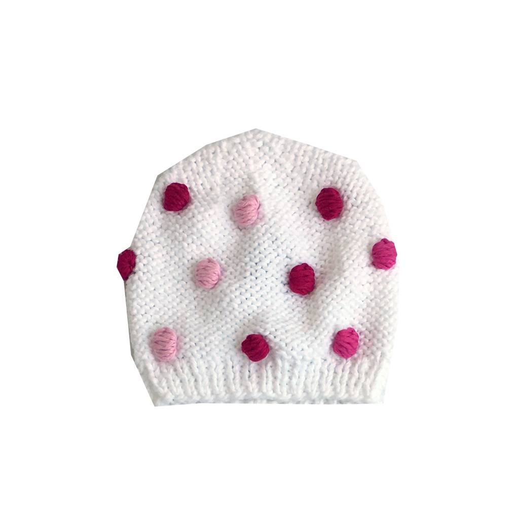 2 H Knits White Pom Pom Sweater & Hat