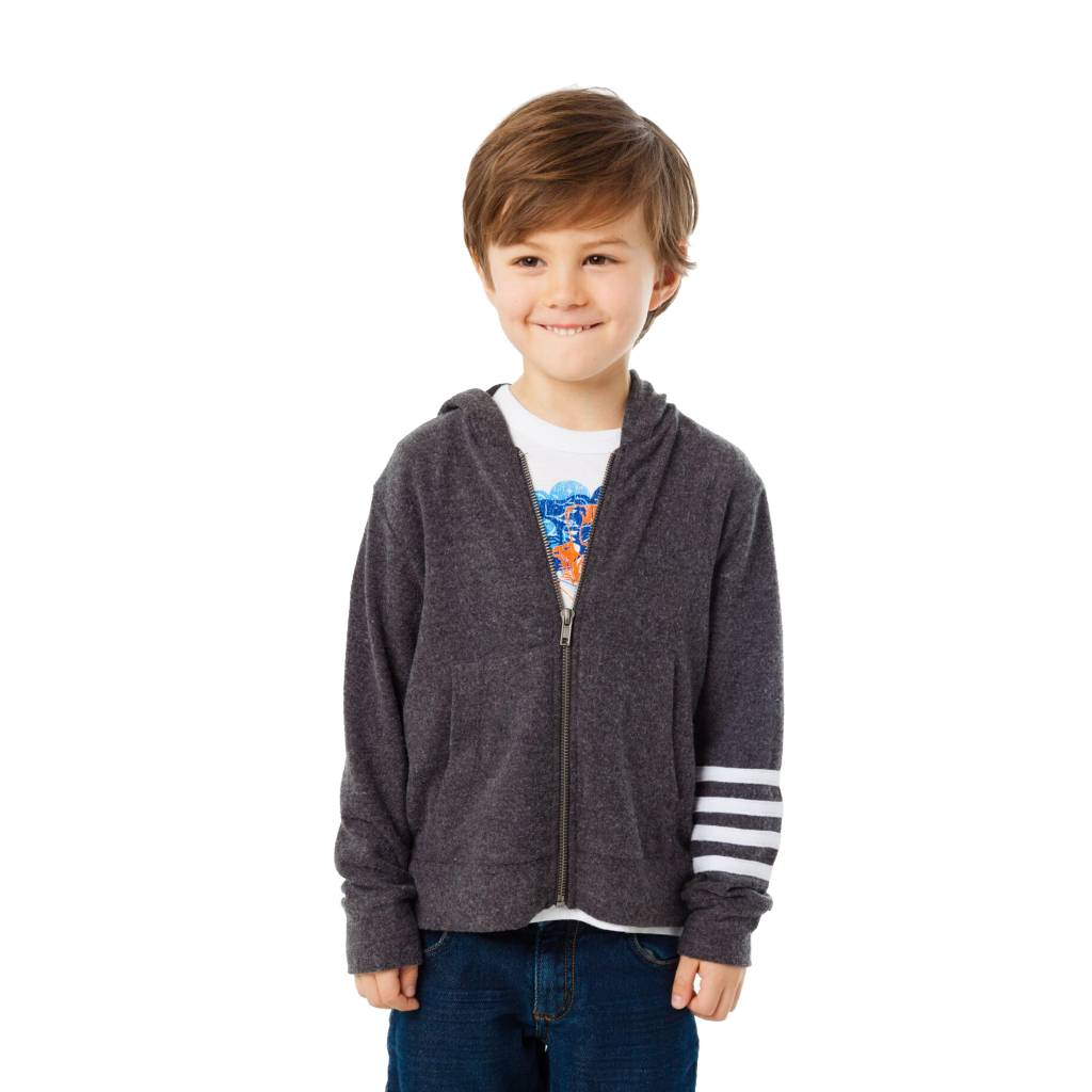Chaser Striped Sleeve Soft Zip Hoodie