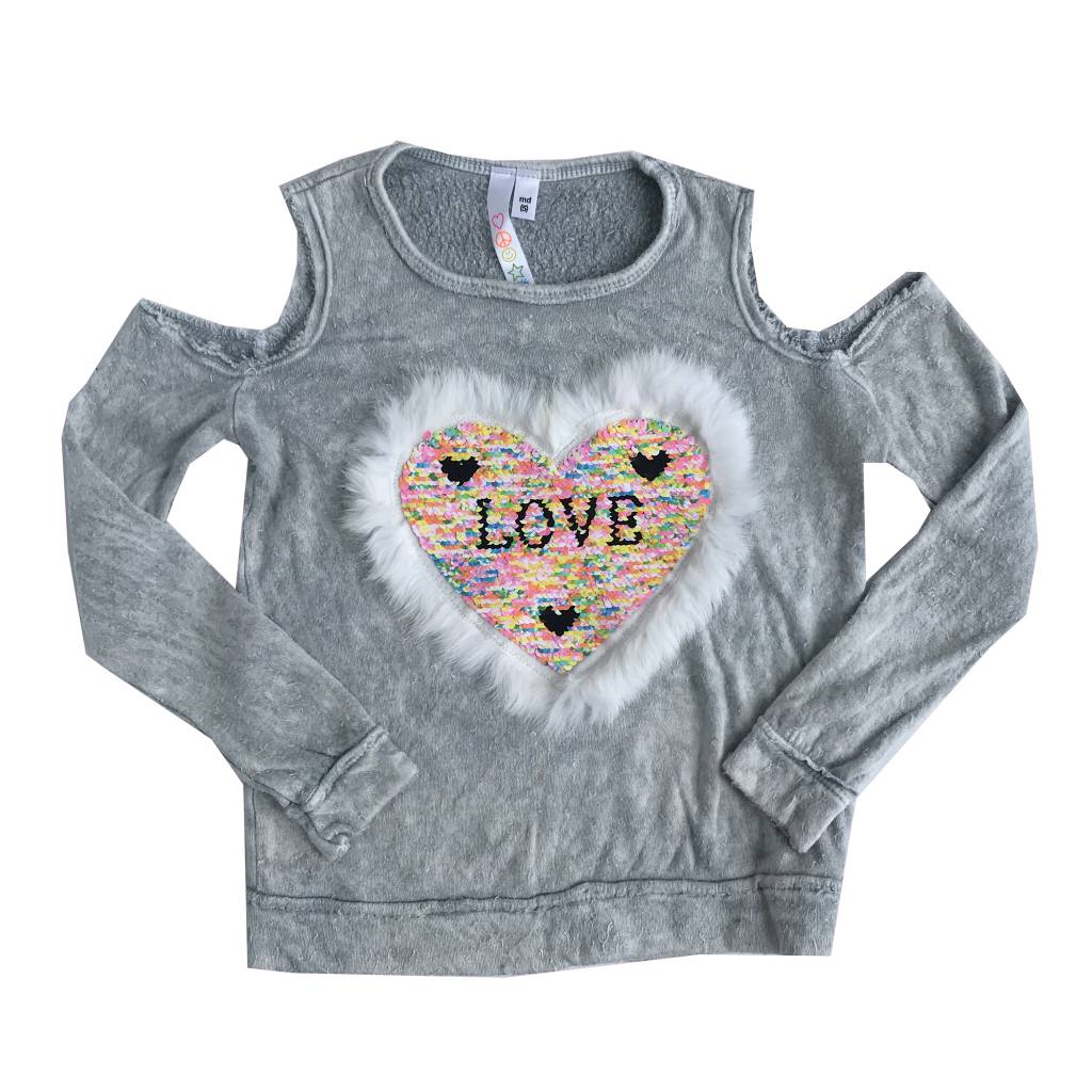 Malibu Sugar Fur Sequin Heart Top