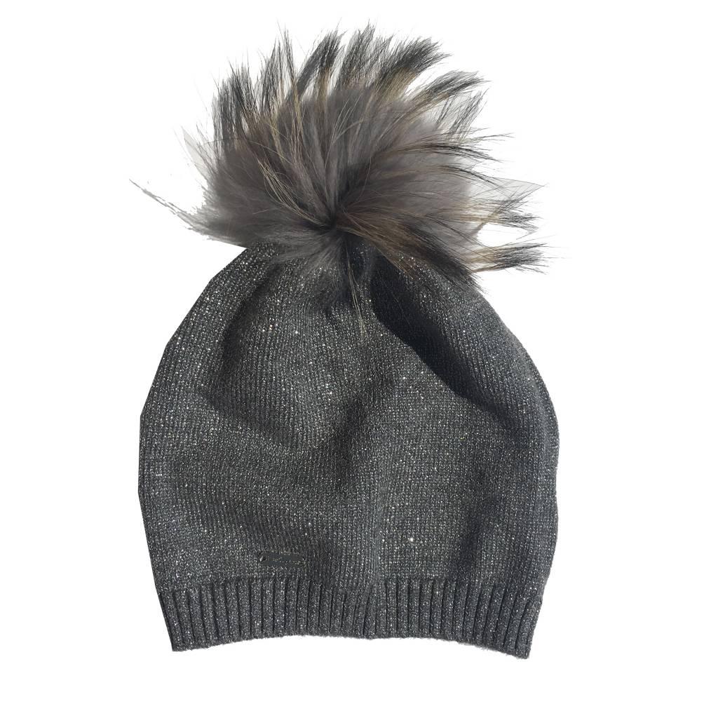 Bari Lynn Kids Slouch Pom Pom Hat (2 colors)