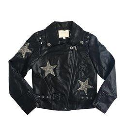 Hannah Banana Faux Leather Star Biker Jacket