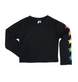 Malibu Sugar Cropped Star Sleeve Sweatshirt