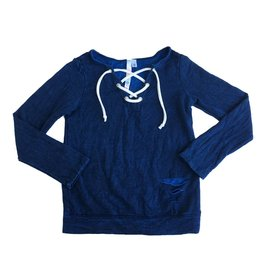 Malibu Sugar Lace Up Ripped Sweatshirt Top