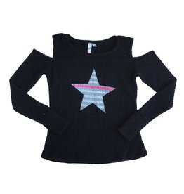 Malibu Sugar Striped Star Cold Shoulder Thermal