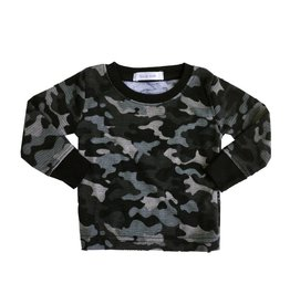 Little Mish Black Camo Thermal Top