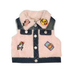 Baby Sara Pink Faux Fur Patch Denim Infant Vest