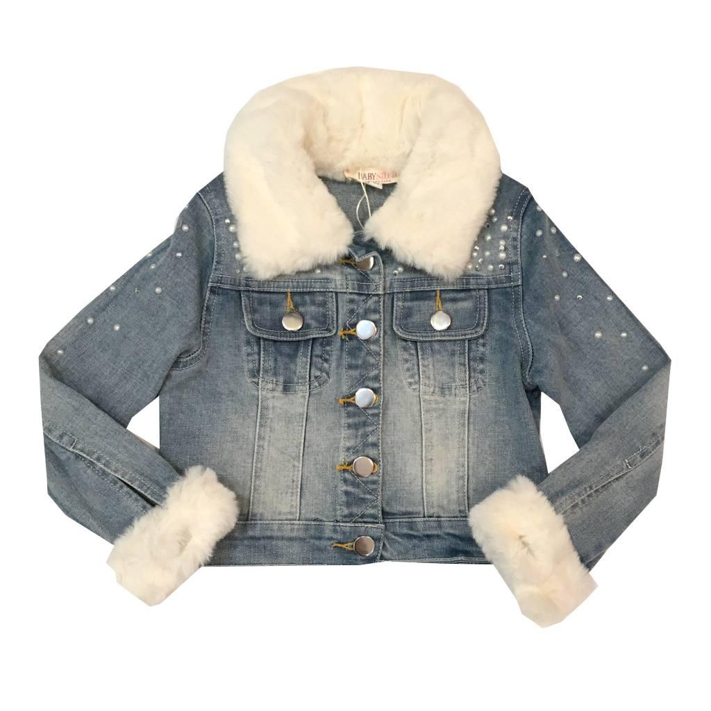 Baby Sara Embellished Faux Fur Infant Denim Jacket