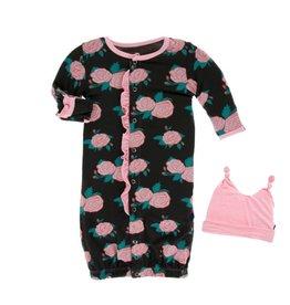 Kickee Pants Rose Garden Ruffle Gown & Hat 3-6M