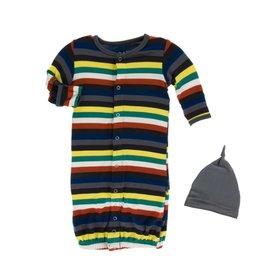 Kickee Pants London Stripe Gown & Hat 0-3M