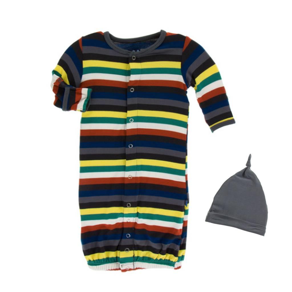 Kickee Pants London Stripe Gown & Hat 0-3M - Precious Cargo