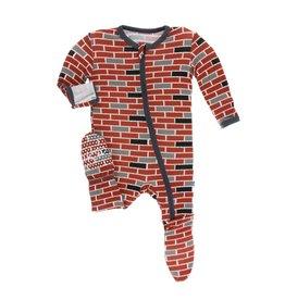 Kickee Pants London Brick Zipper Footie