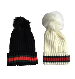 Striped Knit Pom Pom Hat