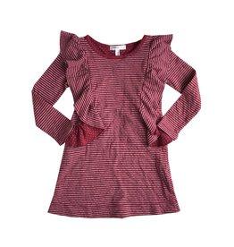 Joah Love Stripe Double Knit Ruffle Dress