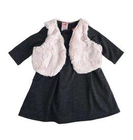Mini Mini Empire Dress with Faux Fur Vest