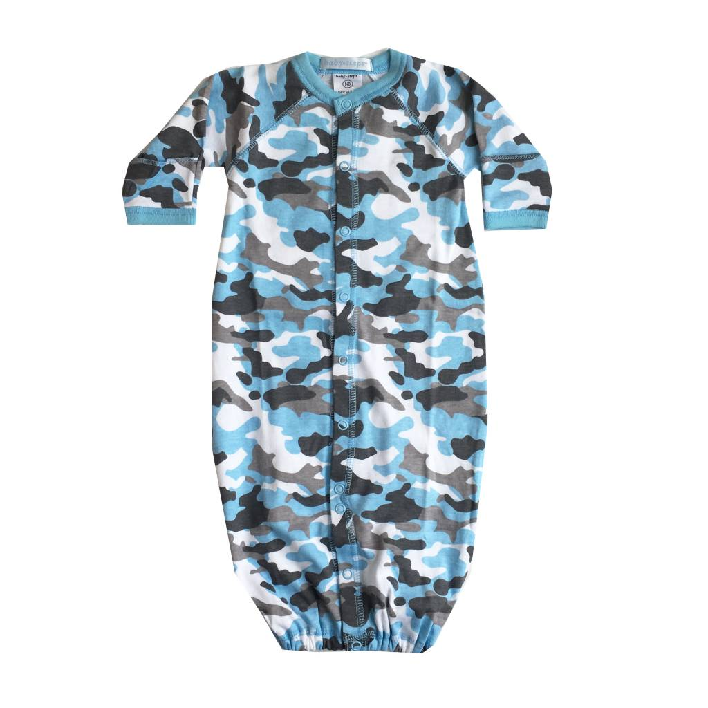 Baby Steps Light Blue Camo Convertible Gown NB
