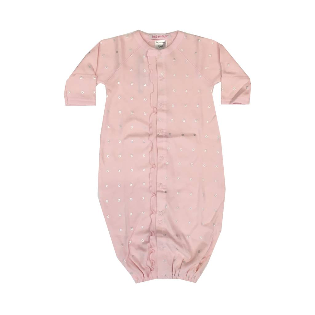 Baby Steps Silver Foil XO Convertible Gown NB