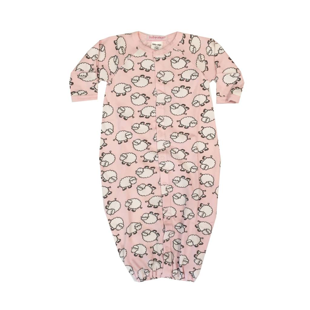 Baby Steps Pink Sheep Convertible Gown NB