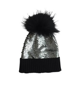 Bari Lynn Reverse Sequin Pom Pom Hat (2 colors)