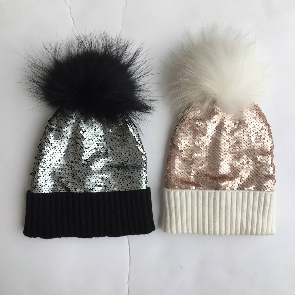 Bari Lynn Reverse Sequin Pom Pom Hat (2 colors)