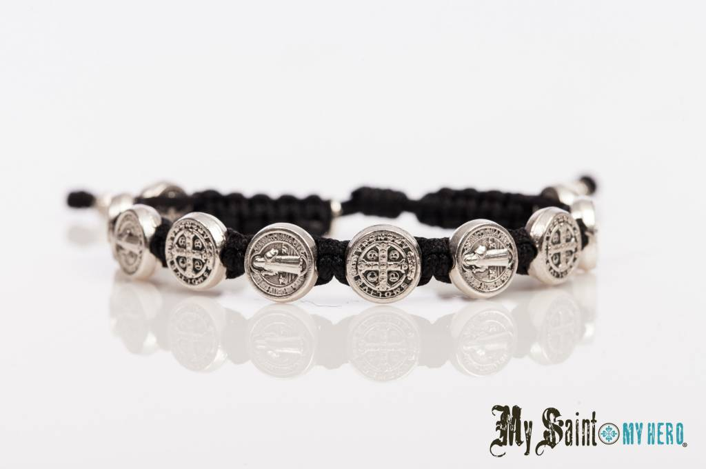 My Saint Hero Blessing Bracelet Silver With Black Cord