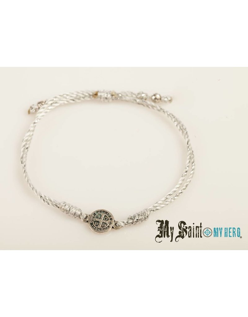 My Saint My Hero Breathe Bracelet Silver with Silver Cord