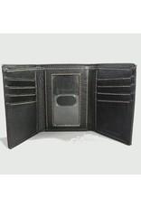 Carolina Sewn Wallet Trifold Black with Embossed Shamrock