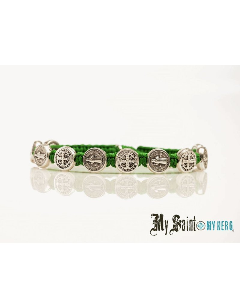 My Saint My Hero Blessing Bracelet Silver with Green Cord