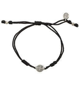 My Saint My Hero Breathe Bracelet Silver with Black Cord