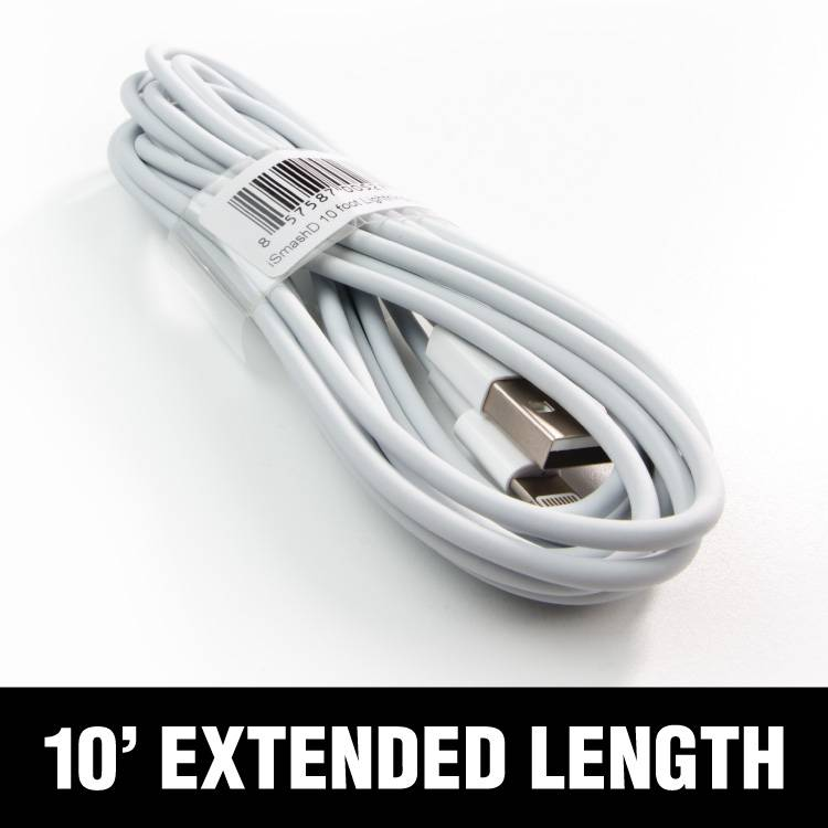 smashdiscount White Lighting Cable 10ft