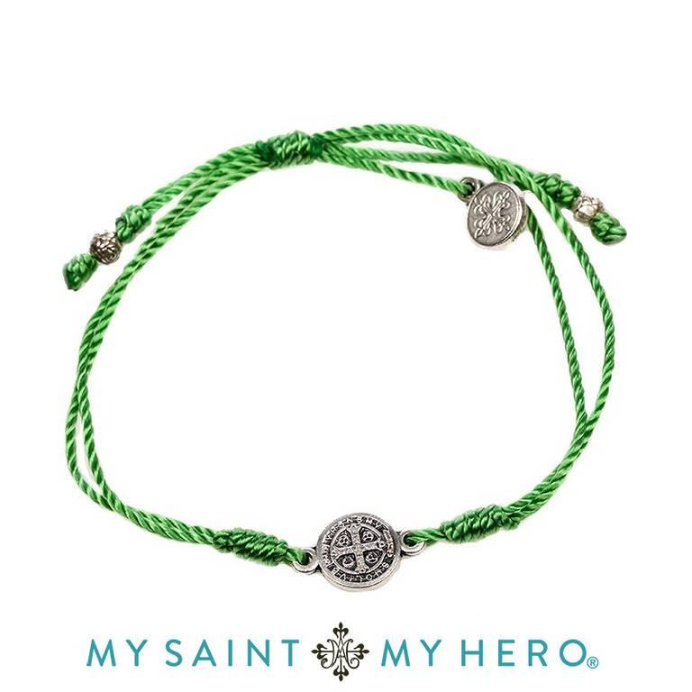My Saint My Hero Breathe Bracelet Silver with Green Cord