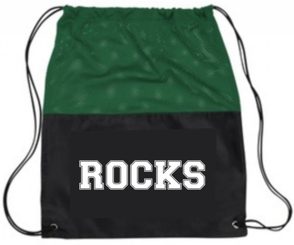 PE BAG BLACK/GREEN MESH CINCH PACK