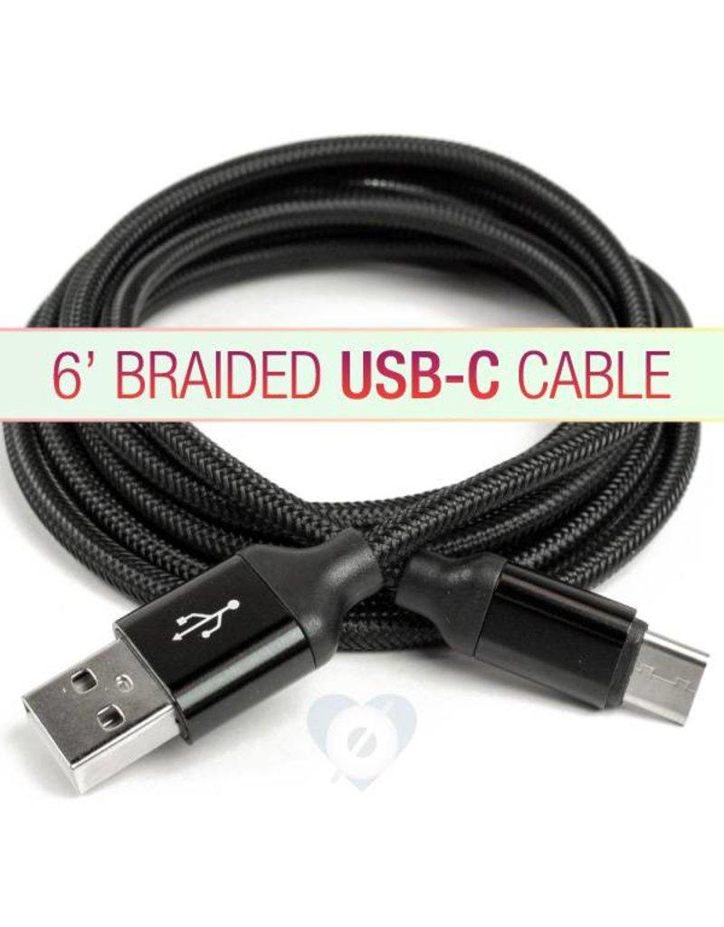 smashdiscount 6 Foot Braided USB C cable Black