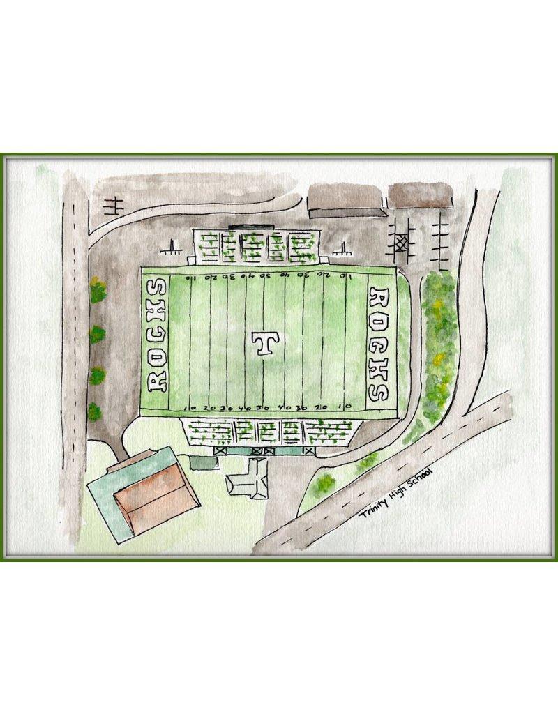Water color Prints Football Stadium