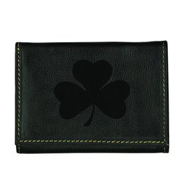 Carolina Sewn Wallet Trifold Black with Embossed Shamrock