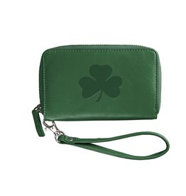 Green Party Clutch Leather Shamrock