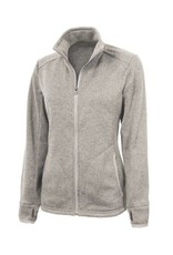 Charles River Women's Oatmeal Full Zip Heather Fleece