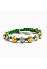 My Saint My Hero Blessing Green Cord with Gold and Silver